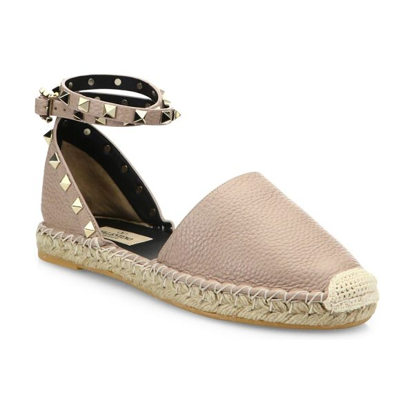 Valentino rockstud leather espadrilles in poudre - Pebble leather espadrille with studded ankle strap....