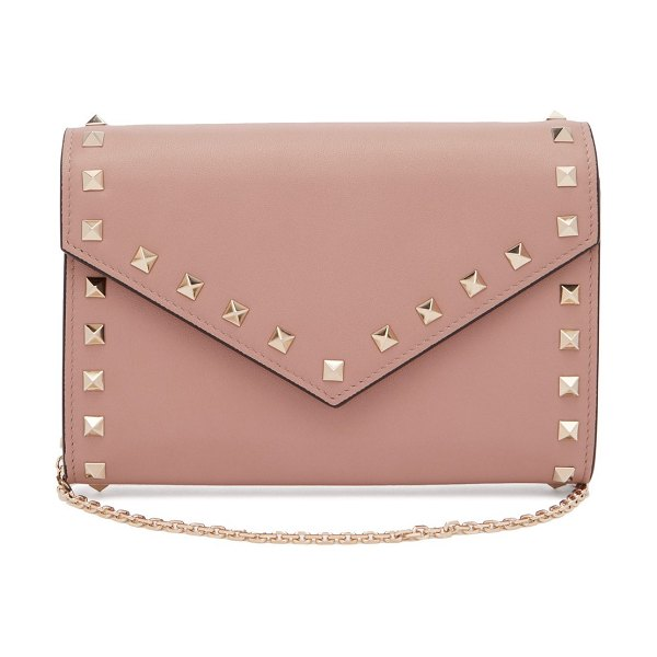 Valentino rockstud leather envelope clutch in nude