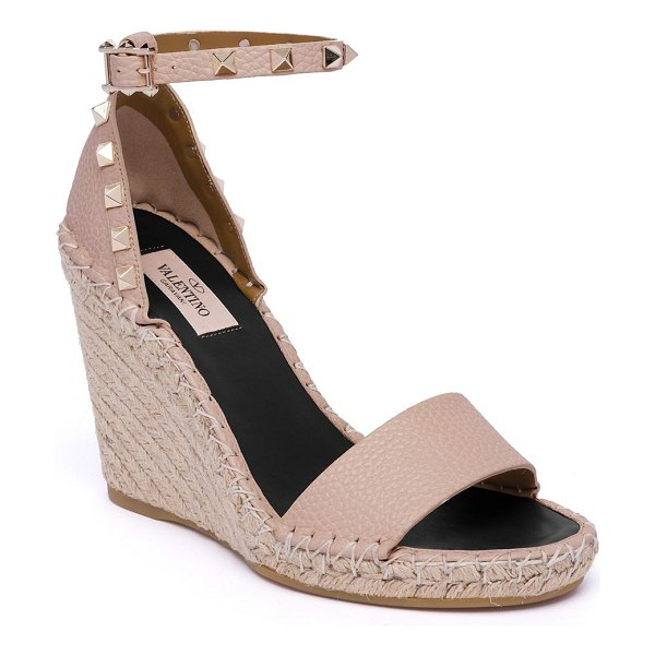 Valentino rockstud leather espadrille wedge sandals in poudre - Leather espadrille wedge with studded ankle strap....