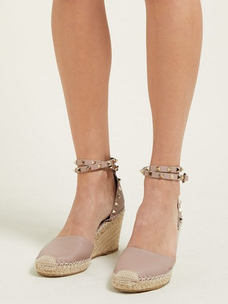 Valentino rockstud leather espadrille wedges in nude