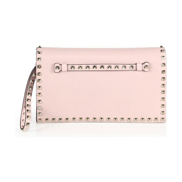Valentino rockstud leather flap clutch in waterrose - Leather wristlet clutch with signature stud trim....