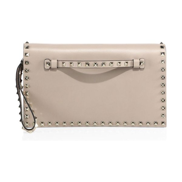 VALENTINO rockstud leather flap clutch in poudre - Leather wristlet clutch framed with signature studs....