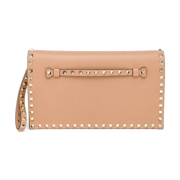Valentino Rockstud leather flap clutch in skinsorbet - Leather wristlet clutch with signature stud...