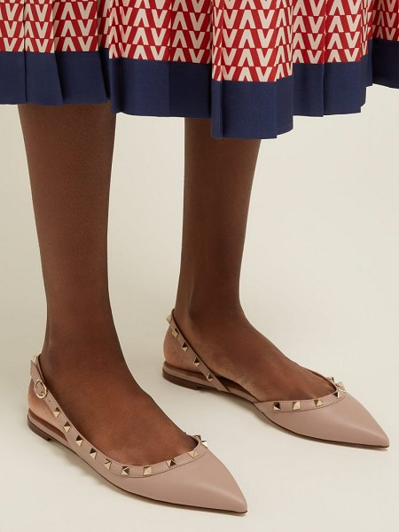 Valentino rockstud leather flats in nude