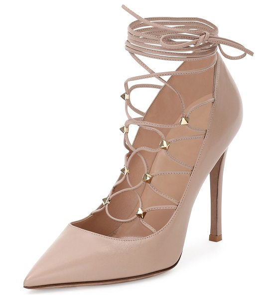 "VALENTINO Rockstud Leather Lace-Up 105mm Pump - Valentino calf leather pump. 4.3"" covered heel. Pointed..."