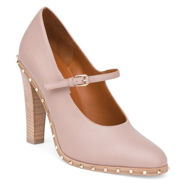 Valentino rockstud leather mary janes in poudre - Subtle studding adds edge to sweet, feminine style....