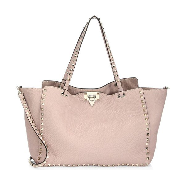 VALENTINO mediumrockstud leather satchel in poudre - Rockstuds provide edge to pebbled leather tote. Double...