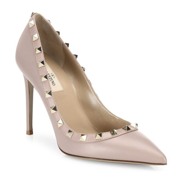 VALENTINO rockstud leather point toe pumps - Leather point-toe pump with signature rockstud trim....
