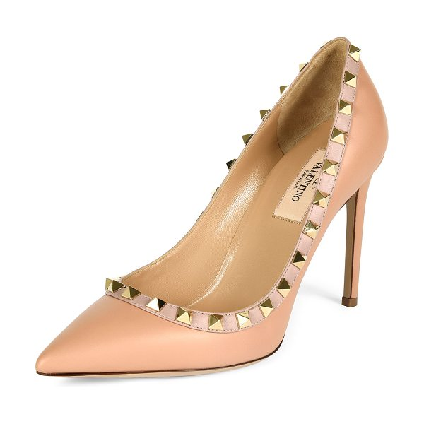Valentino Rockstud Leather 100mm Pump in skin sorbet - Valentino Garavani vitello leather pump with napa trim....