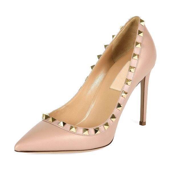 """VALENTINO Rockstud Leather Pump - Valentino smooth leather pump. 4"""" covered heel. Pointed..."""