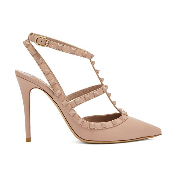 Valentino Rockstud Leather Pumps in nude - Valentino - Thanks to the elegantly slender silhouette,...