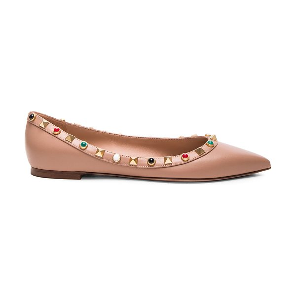 Valentino Rockstud Leather Rolling Ballerina Flats in neutrals - Leather upper and sole.  Made in Italy.  Rubber tap...
