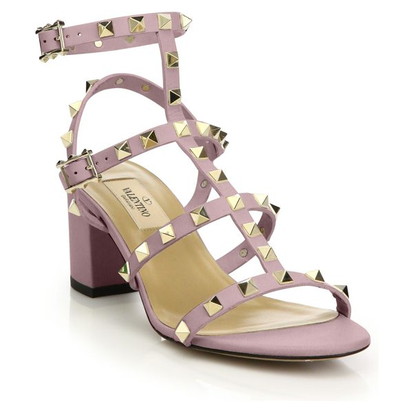 Valentino rockstud leather block heel sandals in rose - Leather T-strap silhouette with high-shine metal pyramid...