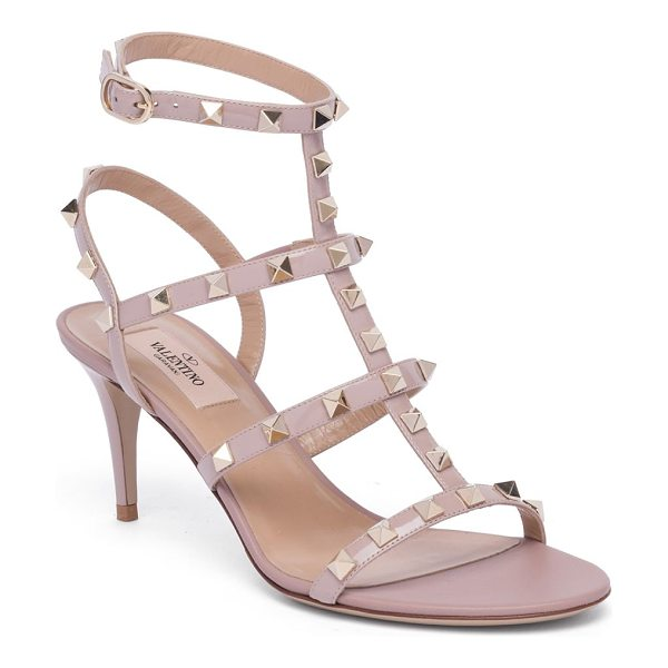 Valentino rockstud leather sandals in poudre - Leather cage sandal with signature rockstud trim....