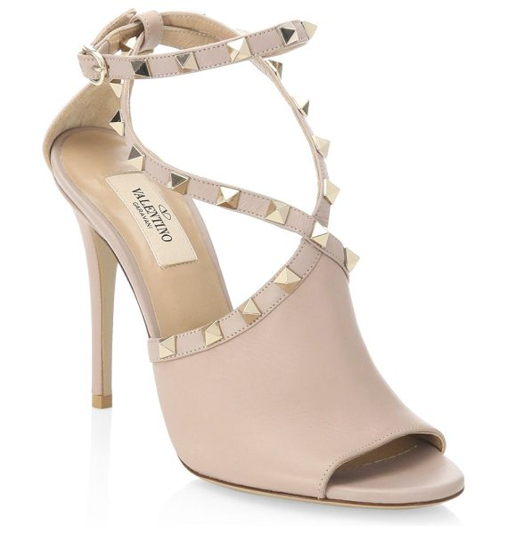 Valentino rockstud leather sandals in poudre - Chic studded sandals in luxe leather Stiletto heel,...