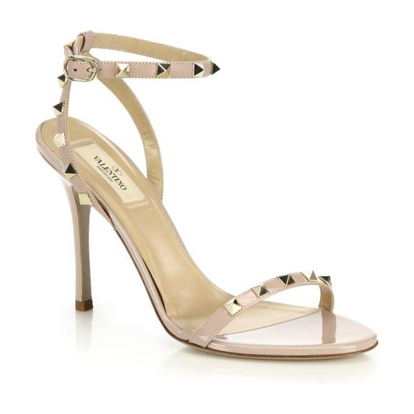 Valentino Rockstud leather sandals in nude - Valentino's signature pyramid studs lend just a touch of...