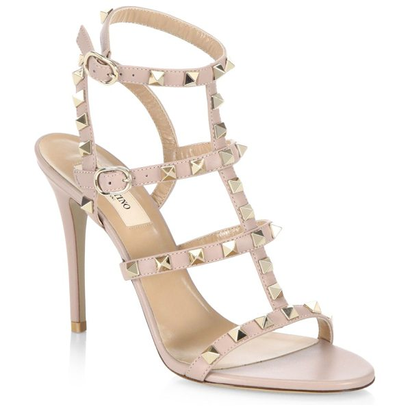 Valentino rockstud leather sandals in poudre - Stiletto sandals featuring studded straps design....