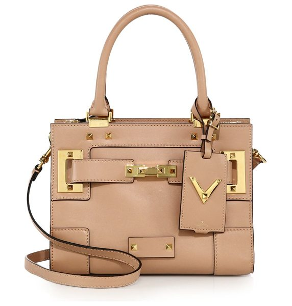 Valentino Rockstud leather satchel in blush - Smooth leather satchel with belt detail and signature...