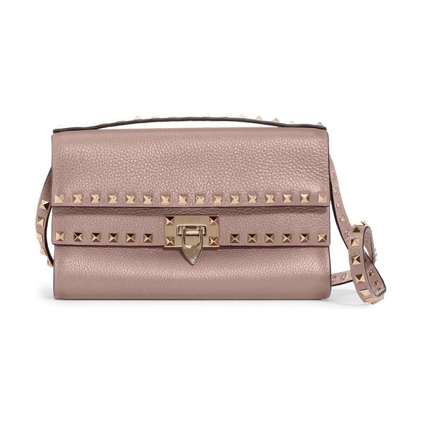 Valentino rockstud leather shoulder bag in beige