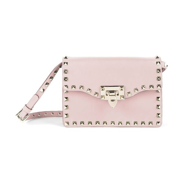 Valentino rockstud leather crossbody bag in cipria - Structured leather crossbody traced with signature...