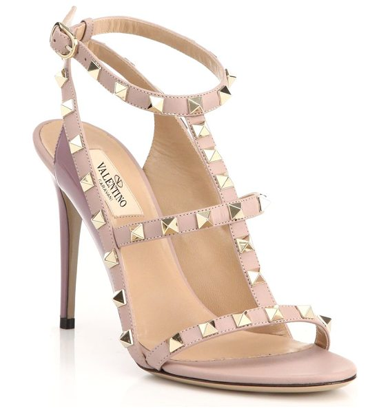 Valentino rockstud leather slingback sandals in poudre - Strappy open-toe slingbacks with signature rockstuds....