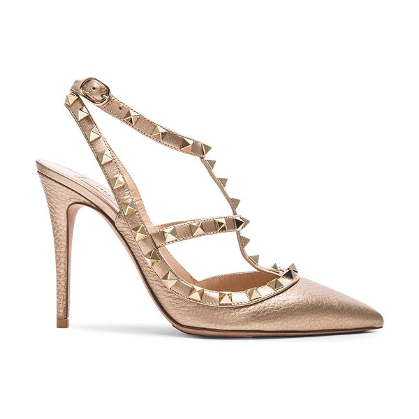 Valentino Rockstud leather slingbacks t.100 in metallics - Metallic grained leather upper with leather sole.  Made...