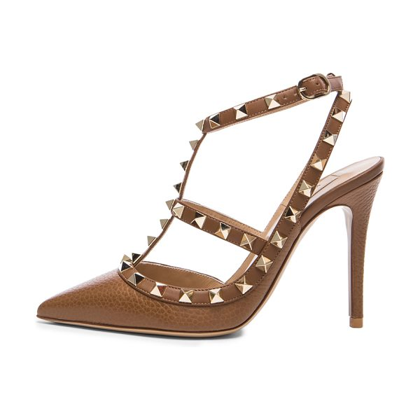 VALENTINO Rockstud leather slingbacks t.100 - Grained leather upper with leather sole.  Made in Italy....