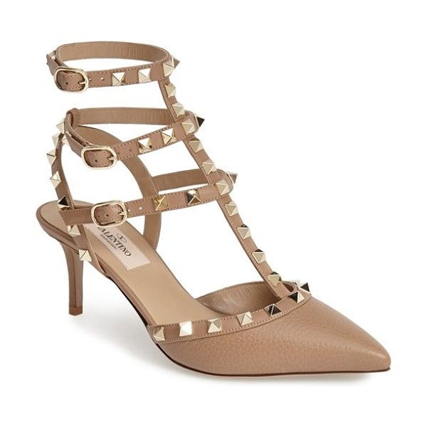 Valentino rockstud leather t-strap pump in brown - Valentino's iconic pyramid studs spike the caged straps...