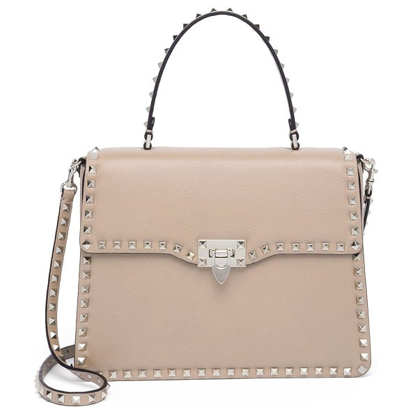Valentino rockstud leather top-handle satchel in poudre - Structured leather silhouette outlined with iconic...
