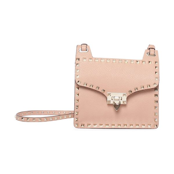 Valentino Rockstud lock-flap square shoulder bag in taupe - Valentino calf leather shoulder bag. Signature Rockstud...