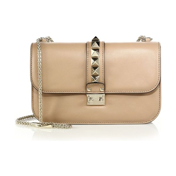 Valentino rockstud lock medium shoulder bag in taupe - Crafted in the ideal everyday size, this structured...