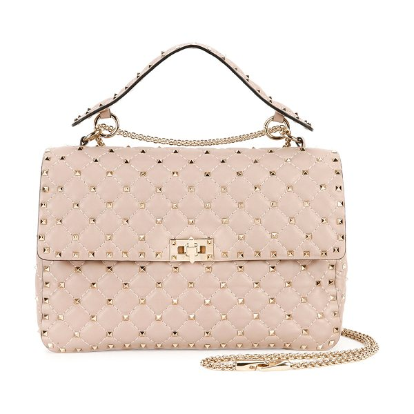 VALENTINO Rockstud Quilted Large Shoulder Bag in beige - Valentino quilted lambskin shoulder bag with signature...