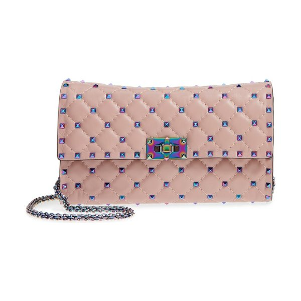 Valentino rockstud matelasse leather shoulder bag in dusty rose - Tiny rockstuds with a colorful prismatic sheen punctuate...