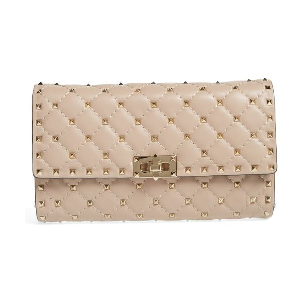 Valentino rockstud matelasse quilted leather shoulder bag in poudre
