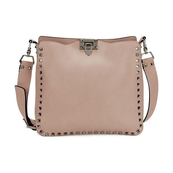 Valentino Rockstud Small Flip-Lock Hobo Bag in light pink - Valentino pebbled leather hobo bag. Available in...