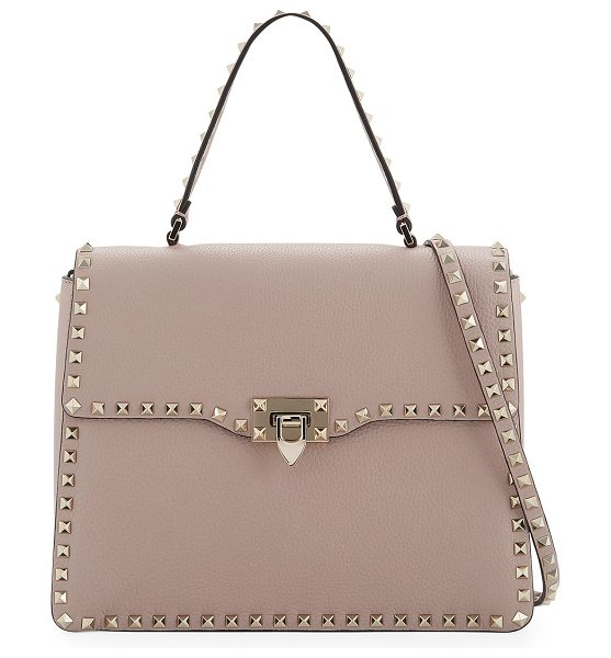 Valentino Rockstud Medium Leather Top-Handle Satchel Bag in beige - Valentino Garavani pebble-grain leather satchel bag....