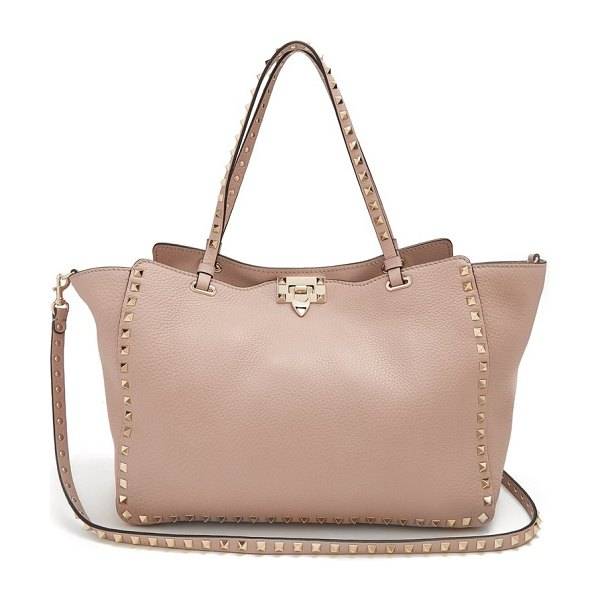 Valentino rockstud medium leather tote in nude - Valentino - Add an elegant final flourish to your look...