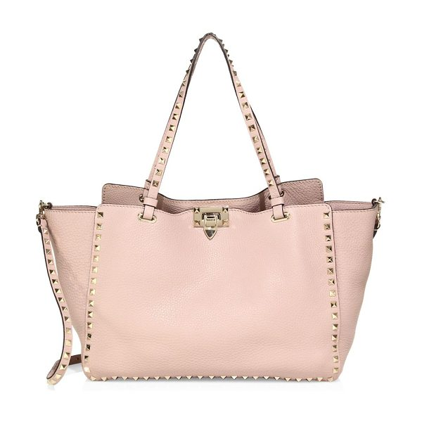 Valentino rockstud medium leather tote in poudre - Goldtone studs update the classic tote, rendered in...