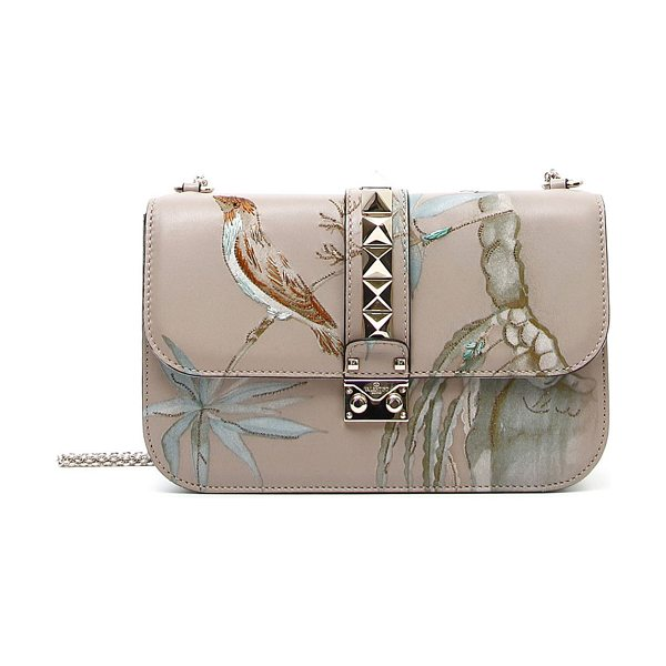 Valentino Rockstud medium lock embroidered leather bag in g20 poudre - Valentino leather shoulder bag with embroidered...