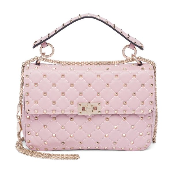 Valentino rockstud medium quilted leather chain shoulder bag in poudre - Iconic rockstuds elevate quilted leather silhouette....