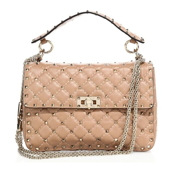 Valentino rockstud medium quilted leather chain shoulder bag in antiquerose - Iconic rockstuds elevate quilted leather silhouette....