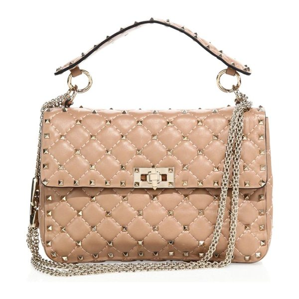 Valentino rockstud medium quilted leather chain shoulder bag in antique rose - Iconic studs polish diamond-quilted leather style. Top...