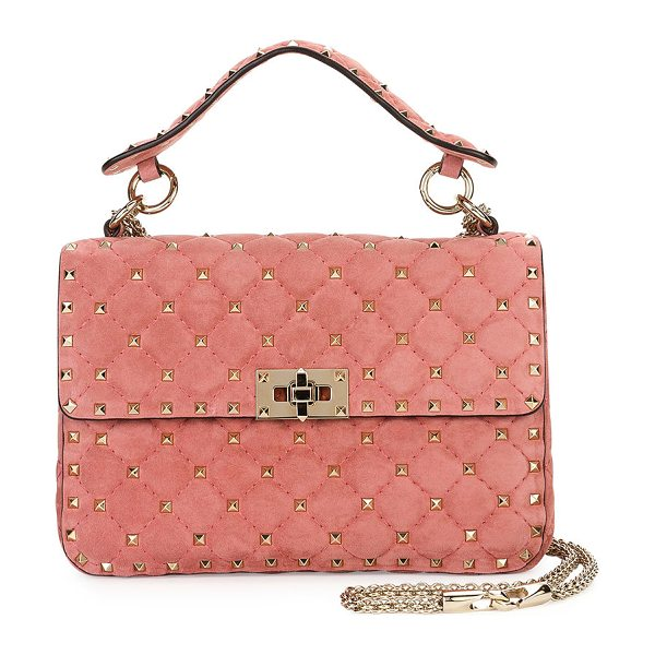 VALENTINO Rockstud Medium Quilted Suede Shoulder Bag in pink - Valentino Garavani quilted suede shoulder bag with micro...