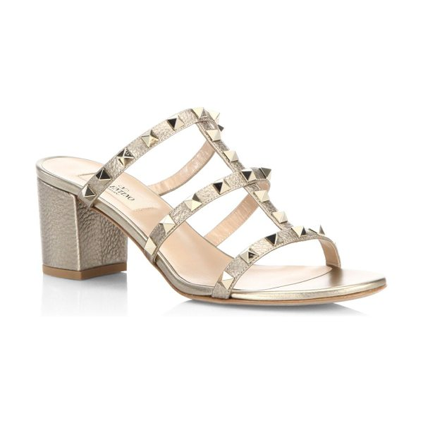 Valentino rockstud metallic leather block heel mules in nude - Studded metallid leather cage sandal on block heel....