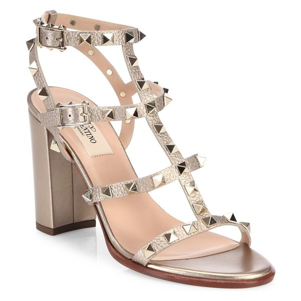 Valentino rockstud metallic leather block heel sandals in rose gold - Iconic T-strap sandal trimmed in signature rockstuds....