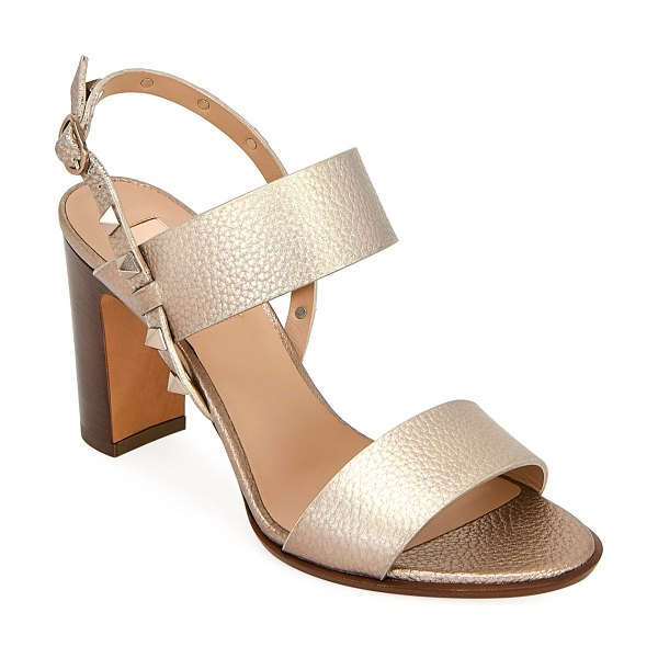 Valentino Rockstud Metallic Leather Double-Band Sandals in skin
