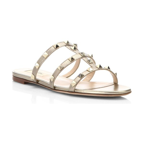 Valentino rockstud metallic leather slides in nude - Metallic leather cage slide traced with rockstuds....