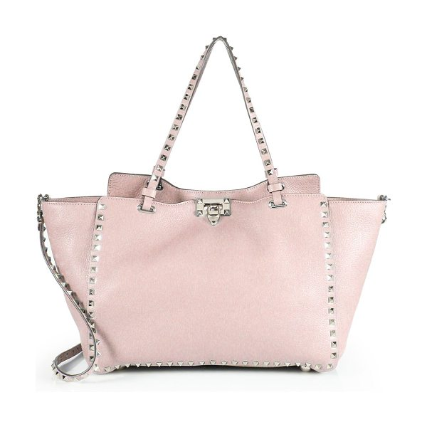 Valentino rockstud mini leather tote in rosewater - Trapeze silhouette traced with signature studs. Double...