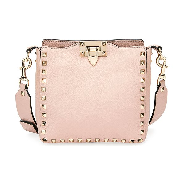 Valentino Rockstud Mini Vitello Stampa Leather Hobo Bag in light pink