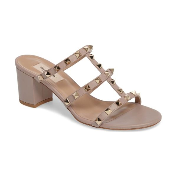 Valentino rockstud slide sandal in poudre - Valentino's celebrated rockstud aesthetic brings...